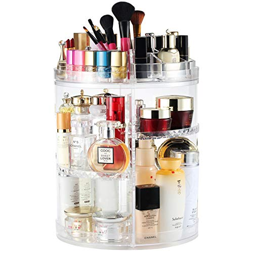 Rotating Makeup Organiser, Rotating 360 Degree Crystal Adjustable Jewelry Cosmetic Perfumes Display Stand Box, 380 x 260 MM 8 Layers Great Capacity Make Up Storage For Dresser, Bedroom, Bathroom