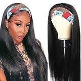 Pelucas mujer pelo humano suavecito straight wigs pelucas cabello natural larga lisa headband human peluca negra niña hair wig for black woman con cintas pelo mujer 20inch(50cm)