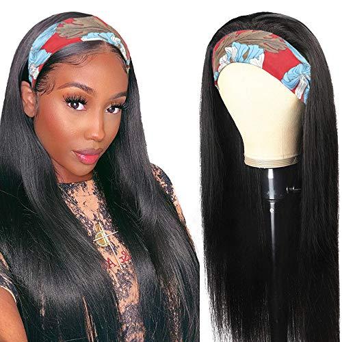 Pelucas mujer pelo humano suavecito straight wigs pelucas cabello natural larga lisa headband human peluca negra niña hair wig for black woman con cintas pelo mujer 26inch(66cm)