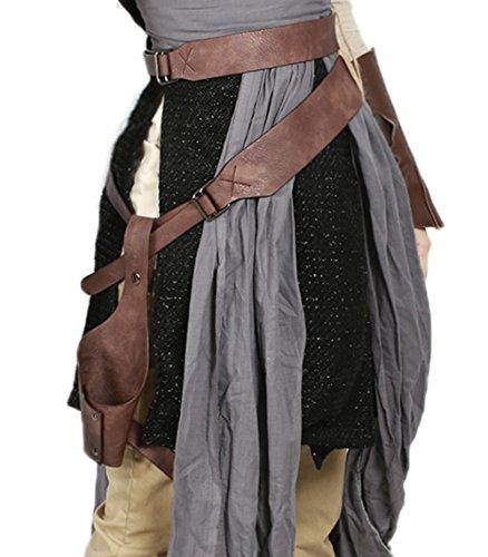Mesky EU Cinturón Rey Pistolera con Cintuón The Last Jedi Marrón PU Black Serie Cosplay Costume Accesorio Halloween Carnaval Ajustable para Hombre