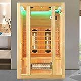 Artsauna Infrarotkabine Nyborg S120V Vollspektrumstrahler & Ambiente LED Beleuchtung – Infrarotsauna für 2 Personen – 120 × 105 cm – Sauna Kabine