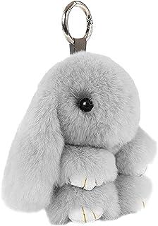 Toyvian Conejito de Peluche Conejito de la muñeca Llavero de Piel de Conejo de imitación Bolso del teléfono móvil Colgante de Carro Colgante Adorno, 18 cm Gris Claro
