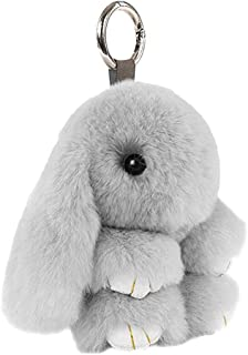 STOBOK Bunny Rabbit Fur Keychain Portachiavi con pompon, ciondolo per cellulare, ornamento (grigio chiaro, 18 cm)