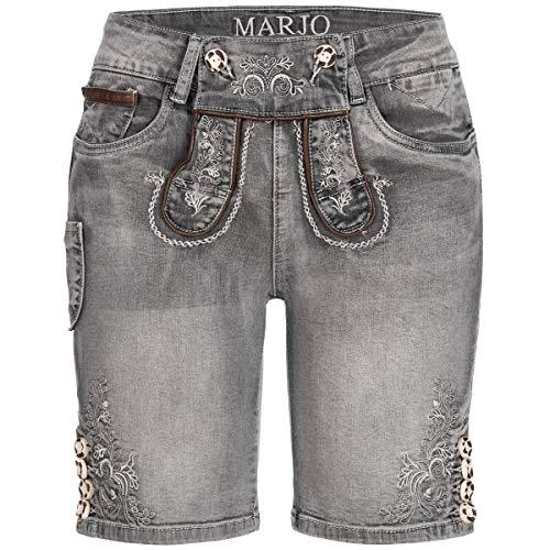 MarJo Trachten Damen Trachten-Mode Jeans-Lederhose Franziska in Grau, Farbe:Grau, Größe:30