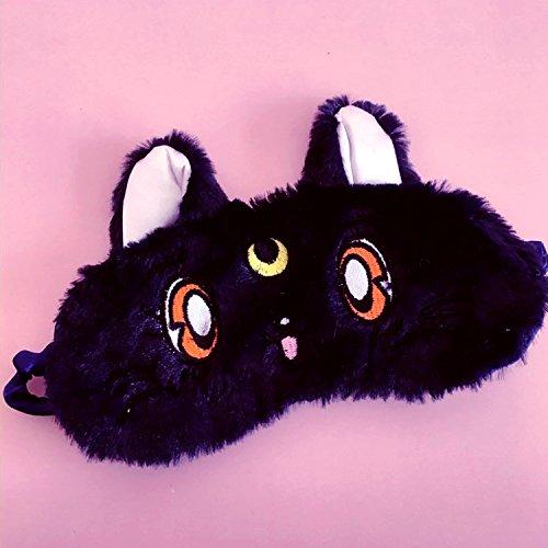 Sailor Moon Eye Mask Bolsa de hielo Napping Eye Mask Plush Cat Cute Soft Girl Girl Heart Cover Black + Ice Bag