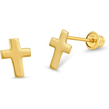 Girls 14K Gold-Plated or Sterling Silver Infinity Cross Earring with CZ and Screw Back