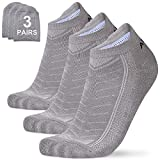 Mens Athletic Socks Low Cut Work Sports Socks Ankle Cotton Compression Running Socks Cushion 3 Pairs Pack