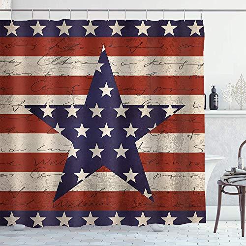 Irongarden USA Duschvorhang 4. Juli Unabhängigkeit Tag Vintage Holzdruck Stoff Duschvorhang Bad Dekor 182,9 x 182,9 cm rot blau