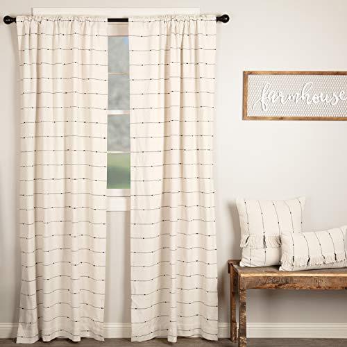 "Piper Classics Farmcloth Stripe Panel Curtains, Set of 2, 96"" Long, Urban Rustic Farmhouse Style Curtain, Natural Cream Woven w/Black Stripes"