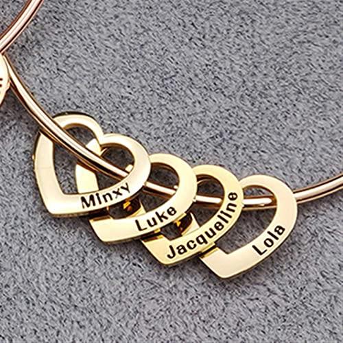 WWWL Pulsera, Brazalete de Brazalete Pulseras Personalizadas con Corazones Personalizados Nombres Grabados Pulseras Brazaletes para Mujeres Amigo Regalo Charm Joyería (Metal Color : 4 Names-Gold)