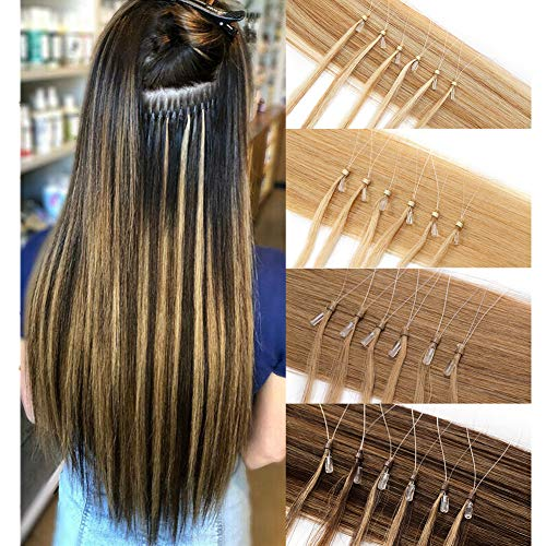 Loop Remy Hair Extensions Human Hair Silicone Micro Ring Beads Stick...