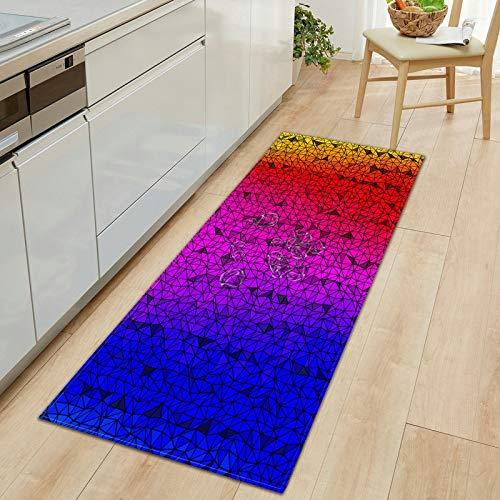OPLJ 3D geometrisch Bedruckte rutschfeste Teppich saugfähig Bad Schlafzimmer Küche Bereich Teppich Flur Begrüßungsmatten Wohnzimmer Fußmatte A12 40x120cm