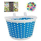 ANZOME Cesta de bicicleta para niños con 36 unidades de radios y clips, 3 unidades de pegatinas del alfabeto, flores y animales, para cesta de manillar de niña, set de regalo, color azul