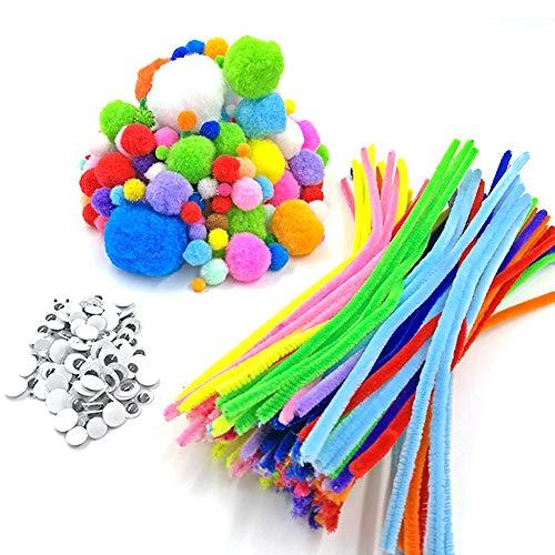 Chingde Scovolini per pipa, 550 pezzi Tubi Colorati Pom Poms Crafts Wiggle Eyes Arte e artigianato per bambini Steli di ciniglia per le decorazioni creative di artigianato darte fai-da-te