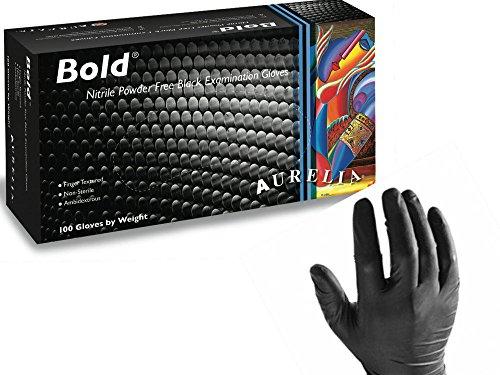 Aurelia Bold Einweg-Handschuhe 100 Stück aus Nitril, schwarz, puderfrei, Größe XL - Robuste Einweghandschuhe