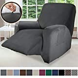 Gorilla Grip Original Fitted Velvet 1 Piece Small Recliner Protector for Seat Width to 28 Inch, Stretchy Furniture Slipcover, Fastener Straps, Spandex Reclining Chair Cover Throw for Pets, Dark Gray