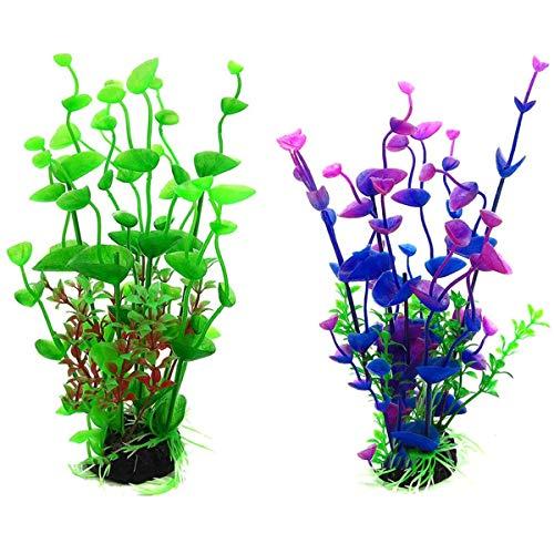 Fodlon Plantas Artificiales Acuario 2 Piezas Plantas Verdes de Acuario Plástico Fácil de Acoplar Material No Tóxico Paisaje de Pecera Decoración de Acuario Pecera