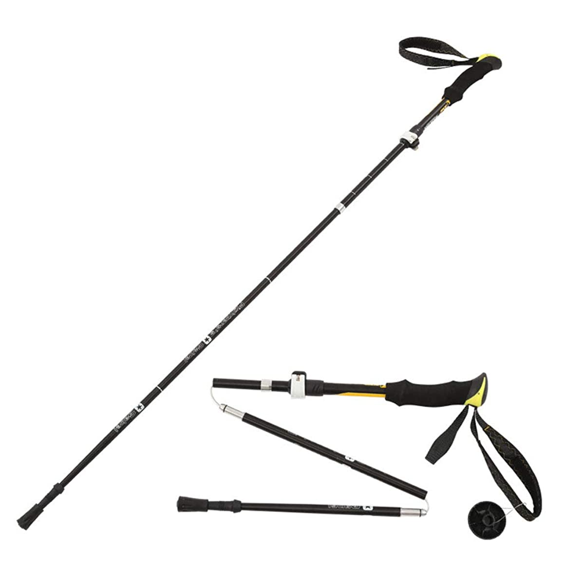 急降下重要な役割を果たす、中心的な手段となる代わりの屋外折りたたみ伸縮トレッキングポールアルミ合金外部ロックスピードロック内部ロックショックアブソーバー杖