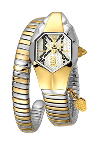 Just Cavalli Women's JC1L001M0165 JC DNA Silver Dial with Two Tone Stainless-Steel Band Watch.