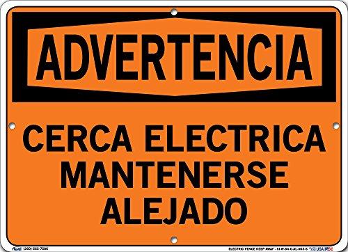 Vestil SI-W-64-C-AL-063-S ELECTRIC FENCE Keep AWAY/CERCA ELECTRICA MANTENERSE ALEJADO señal de advertencia de aluminio, 0.02 cm de tamaño general, 14.80 cm de ancho x 10.5' de alto