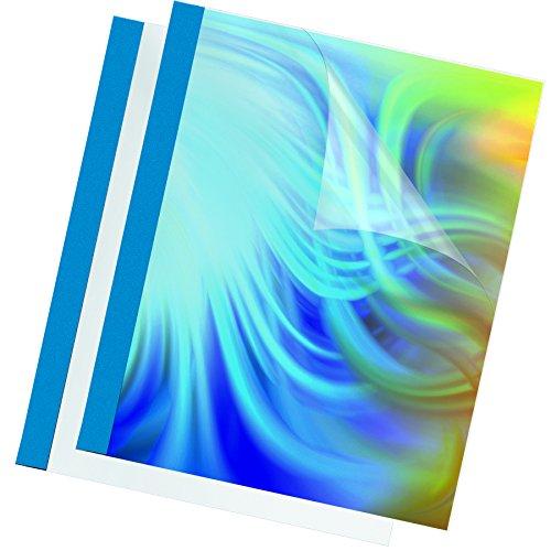 Fellowes Prestige - 100 cubiertas para encuadernación térmica, 3 mm, transparente y azul