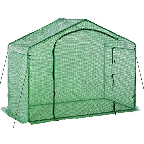 Outsunny Foliengewächshaus Tomatengewächshaus Treibhaus Frühbeet mit Fenster und Tür Grün Stahl PE-Kunststoff 180 x 105 x 165 cm