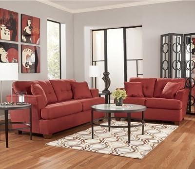 Red Metro Modern Salsa Sofa Loveseat Chair Ottoman Living Room Set