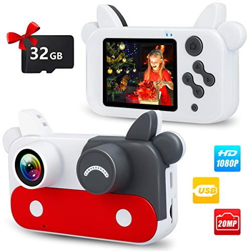 Wohome Digital Camera for Kids,1080P Kids Camera Digital Video Camera with 15 Photo Frames,9 Filters and 5 Games,Portable Toy Gifts for 3-12 Year Old Kids with 32GB SD Card Accessories Personal Players Video