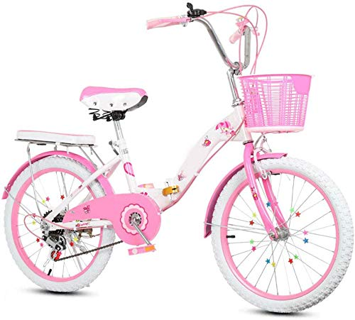 Klapprad Mountainbike Kinderfahrrad Mädchen-Fahrrad mit Korb Stützrad 22 Zoll Fahrrad-Kind-Kind-Kinder Fahrrad, Rosa,A