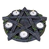 Nemesis Now B2538G6 Wiccan Pentagram - Portavelas (25,5 cm), Color Negro