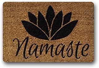 Rdsfhsp Namaste Coir Flower Indoor/Outdoor Doormat Non-slip Durable Heat-resisting Cusion Pet Love Rug Appropriate Cotton And polyester Size 18x30 Inch