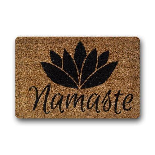 Fedso Custom Namaste - Felpudo de fibra de coco para interiores y exteriores, decoración del hogar, 59,6 cm de largo x 39,9 cm de ancho, antideslizante