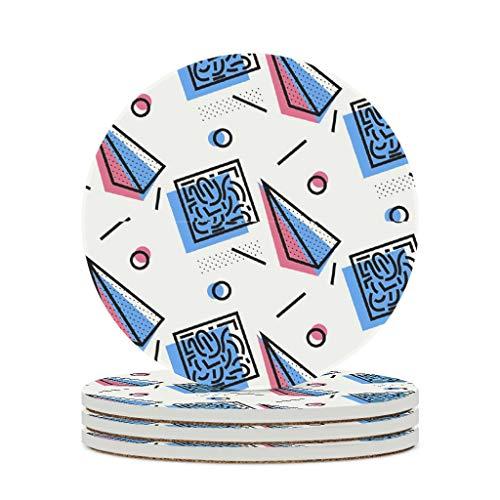 WellWellWell Posavasos geométricos de cerámica decorativos redondos con base de corcho, protector para bar, cristal, regalo de inauguración de la casa, diámetro de 9,8 cm, color blanco, 6 unidades