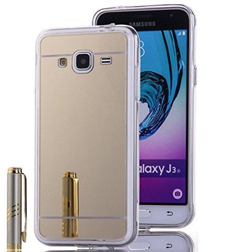 LXHGrowH Funda Samsung Galaxy J3 2016, [Ultra Delgada] Carcasa con Espejo para...