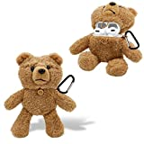 Plush Bear AirPods Pro Case Cute MOIKY Shockproof Dustproof Protective Cartoon 3D Fluffy Animal Wireless Earphone Case with Keychain for Apple AirPods 3 Charging Case - Dark Brown