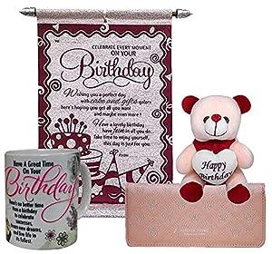 Saugat Traders Brown Canvas Women's Wallet & Coffee Mug, Birthday Scroll Card, Teddy Combo Set (ST0002064)