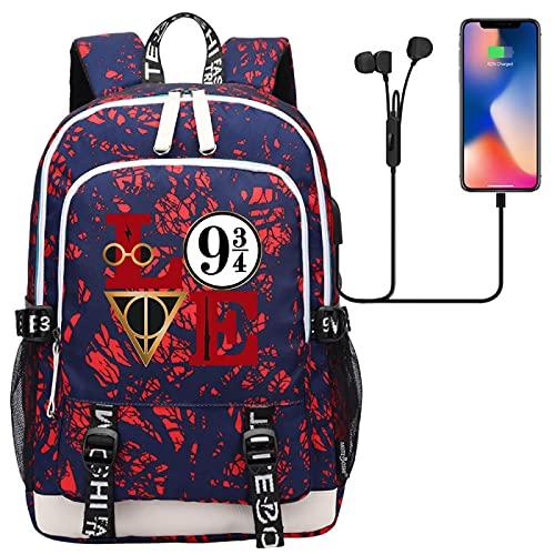 ANCHANG Harry Magic Potter Bookbag, Fashion LOVE Zaino stampato 9&3/4, Borsa da viaggio College Daypack per adolescente 44CMX30CMX15CM Multicolore-04