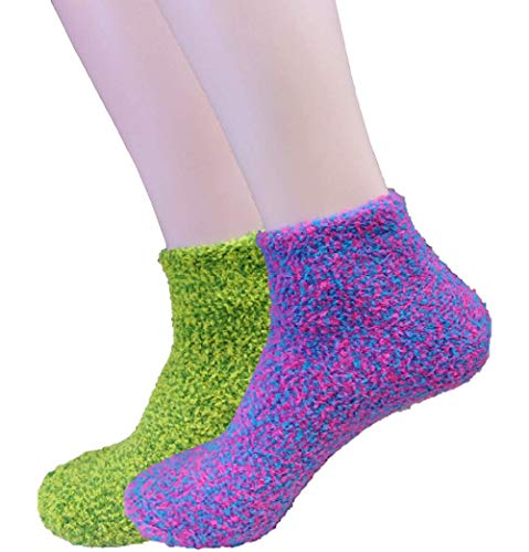 Dr. Scholl's Women's 2 Pack Soothing Spa Low Cut Lavender + Vitamin E Socks with Silicone Treads, Pink Assorted, One Size