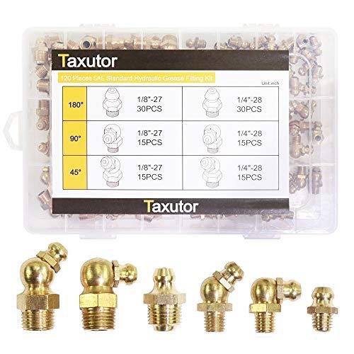 Taxutor 120-Pcs SAE Standard Brass Hydraulic Grease Fitting Assortment Kit – Straight, 90-Degree, 45-Degree Angled Zerk