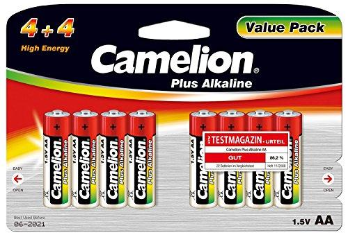 Camelion 11044806 Plus Alkaline Batterien LR6/AA/Mignon, 8er-Pack