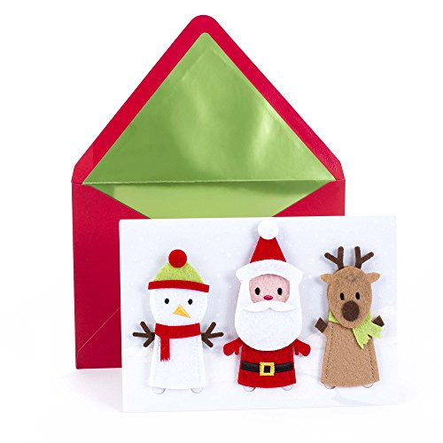 Hallmark Signature Christmas Card for Kid (Removable Finger Puppets), santa, snowman, reindeer, 0799XXH2052