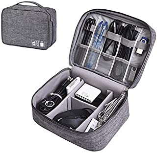 ZEON Travel Digital Packing Organiser – Waterproof Gadget Bag and Cable Storage Padded Case (Grey)