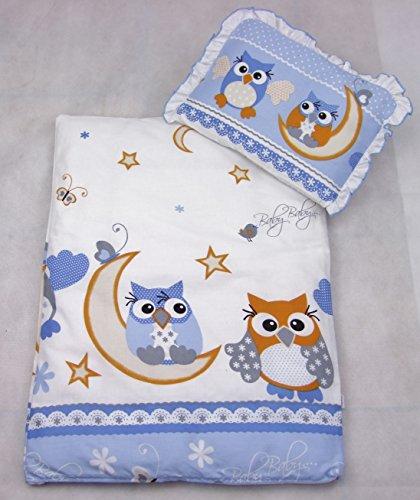 Rawstyle 4 tlg. Set Bezug für Kinderwagen *EULEN-MOTIV* Garnitur Bettwäsche Decke + Kissen + Füllung (Eulen Blau/Orange)