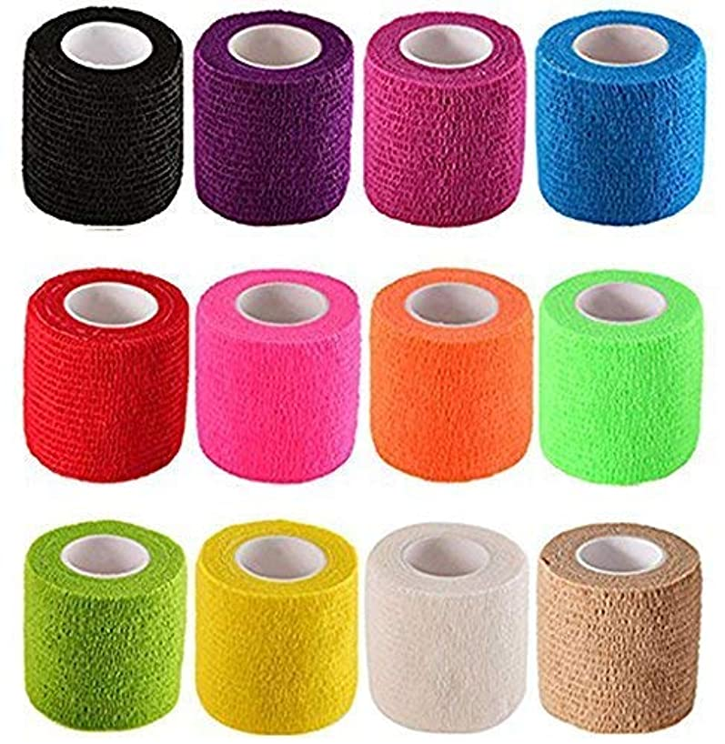 12 Pieces Adhesive Bandage Wrap Stretch Self-Adherent Tape for Sports, Wrist, Ankle,Horse Supply Vet Tape Wrap Sports White Prewrap for Athletic Ankle Hair Tie,Headb 5 Yards Each (12 Colors, 2 inches)
