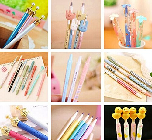 15pcs Cartoon School Kids Kawaii Korean Mechanical Pencil with Lead Refill Jelly Eraser set