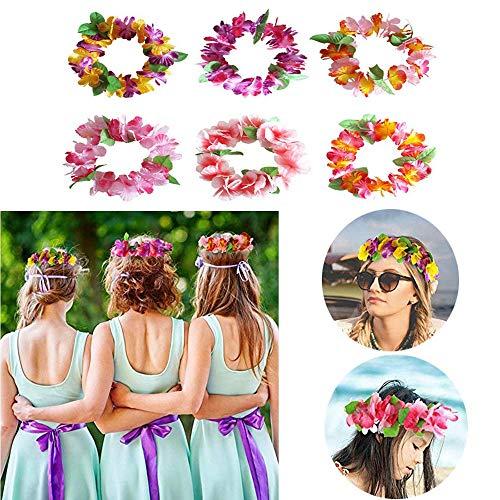 NewSheep 24 PCS Luau Tropical Hawaiian Headband Headpiece Leis for Tiki Mahalo Party Favors Supplies