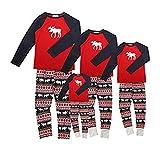 Baijiaye Pijamas de Navidad Familia Conjunto Pijamas Dos Piezas Deer Print Adultos Mujeres Niños Ropa Familiar a Juego Pijamas 04-Bebé 12 Meses