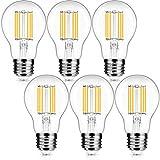 Bombilla LED de filamento E27, Edison Vintage Bombilla, 6 W equivalente a 50 W, 800 lm, blanco cálido 2700 K, transparente, ideal para iluminación retro y nostálgica, no regulable 6 unidades