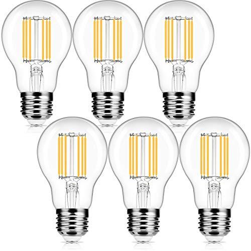 Fulighture Led Filament Lampe E27,Edison Vintage Glühbirne,6W Ersetzt 50W,800 LM,Warmweiss 2700K, Klar, Glühbirne Vintage Ideal für Nostalgie und Retro Beleuchtung,Nicht Dimmbar 6 Stück
