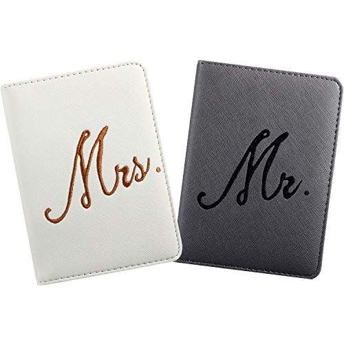 2 Pieces Bridal Passport Covers Holder Travel Wallet Passport Case (Mr and Mrs)